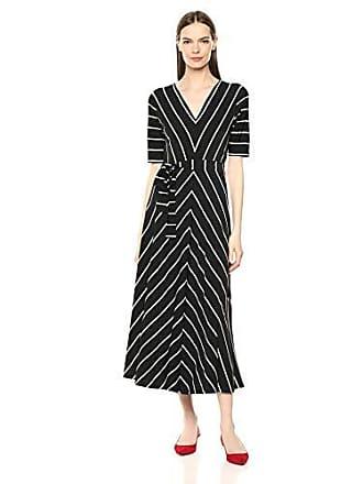 Chaus Womens Elbow SLV Striped V-Neck Dress, Rich Black Medium