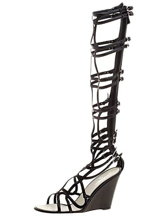 f34ee0ee9a2 Chanel Black Leather Open Toe Gladiator Wedge Sandals Size 40.5