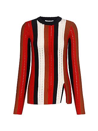 Derek Lam Pointelle-knit Striped Knit Top Red Multi