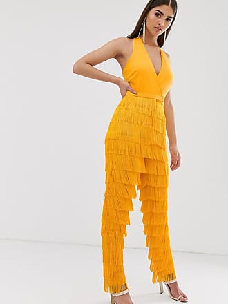 43fc6a304053 Lavish Alice halter neck plunge front fringe jumpsuit in golden yellow