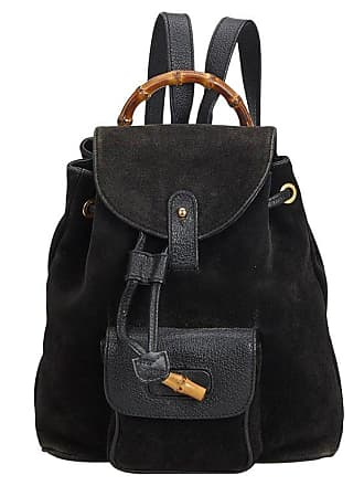c41b2a38ce9 Gucci Black Bamboo Suede Drawstring Backpack