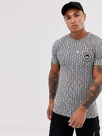 Hype ribbed marl t-shirt-Grey