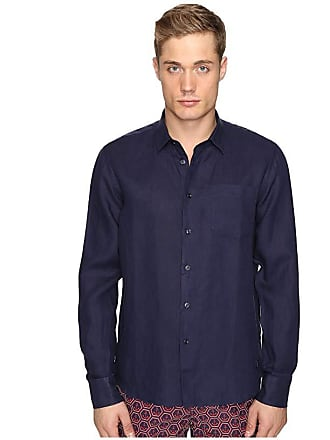 Vilebrequin Linen Long Sleeve Button Up (Navy) Mens Swimwear