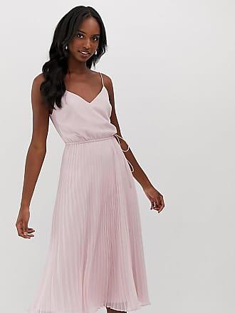 55713590 Asos Tall ASOS DESIGN Tall pleated cami midi dress with drawstring waist