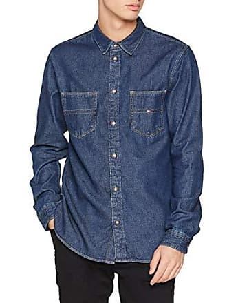 92f3a03d7d9 Tommy Hilfiger Tommy Jeans Hombre Pocket Camisa vaquera Manga Larga Normal  Azul (Dark Indigo 406