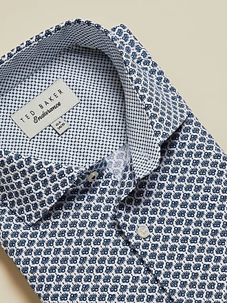 Ted Baker Cotton Geo Print Endurance Shirt in Blue KAALE, Mens Clothing