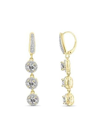 JewelersClub JewelersClub 3 3/4 Carat T.G.W. White Topaz And White Diamond Accent 14kt Gold Over Silver Dangle Earrings