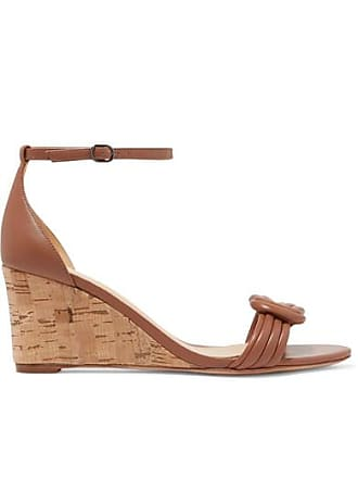 4f54967fb7 Alexandre Birman Vicky Knotted Leather Wedge Sandals - Tan