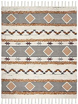 Safavieh KNY904A-9 Kenya Collection Ivory and Black-Orange Premium Wool Area Rug, 9 x 12