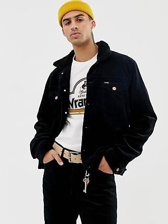 Wrangler fleece lined cord trucker jacket in black - Black
