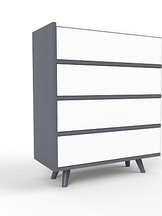 MYCS Kommode Anthrazit - Design-Lowboard: Schubladen in Weiß - Hochwertige Materialien - 77 x 91 x 35 cm, Selbst zusammenstellen