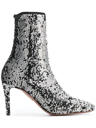 Aquazzura Ankle boot de couro com aplicação de paetês - Metálico