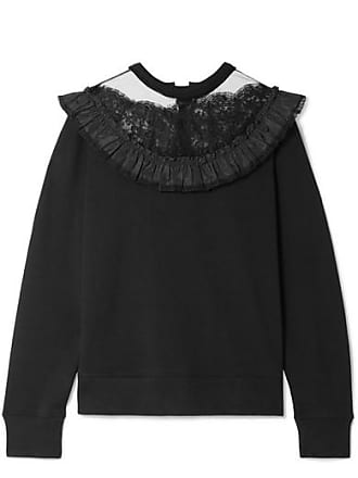 Marc Jacobs Lace And Taffeta-trimmed Cotton-jersey Sweatshirt - Black