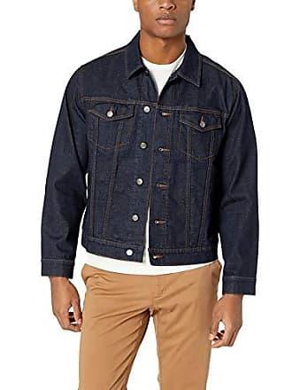 Amazon Essentials Mens Denim Trucker Jacket, Rinsed Wash, Large