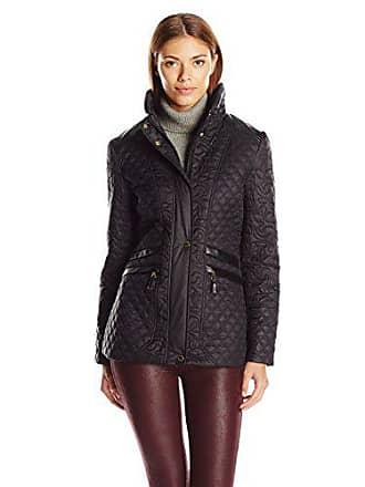 Via Spiga Womens Short Stand Collar Quilted Coat, Black, Medium
