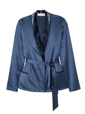 Fleur du Mal Velvet-trimmed Silk-satin Robe - Blue