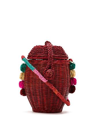 Serpui Bolsa mini estruturada em palha - Vermelho