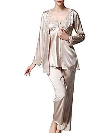 5fac16f1bb Vdual Damen Klassische Spitze Seide Pyjama Set Sleepwear Homewear  Schlafanzug