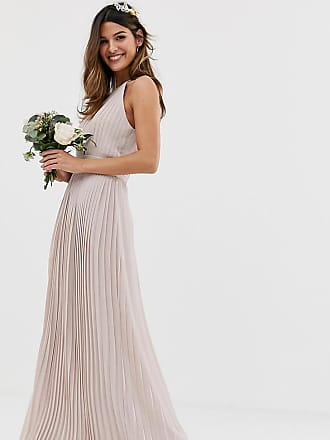 9140ab46d5b Tfnc bridesmaid exclusive high neck pleated maxi dress in taupe