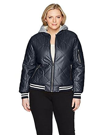 Yoki Womens Plus Size Quilted Pu Bomber with Sherpa Lined Hood, Navy 1X