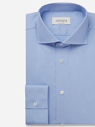 Apposta Camicia tinta unita azzurro 100% cotone no stiro fil-a-fil, collo stile francese punte corte