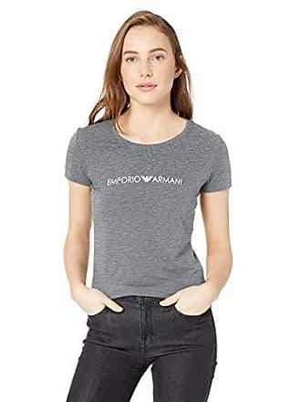 1dd8c868c334 Emporio Armani Womens Iconic Logoband Crew Neck T-Shirt, Dark Melange Grey  Large