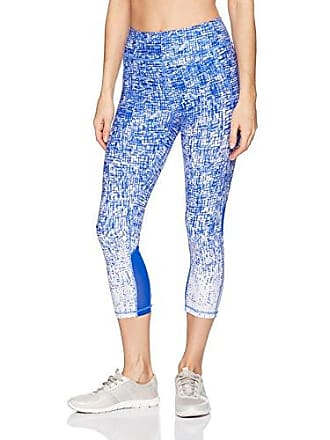 0a49645937 Calvin Klein Performance Womens Nolita Print High Waist Curved Mesh Crop  Tight, Sapphire Combo XL