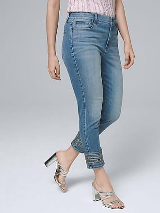 White House Black Market Womens Curvy-Fit Mid-Rise Embroidered-Hem Slim Crop Jeans by White House Black Market, Denim Light Wash, Size 10 - Short