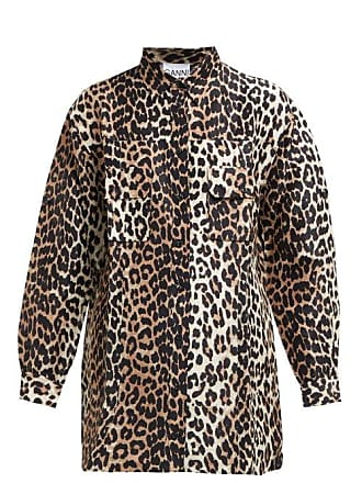 Ganni Cedar Leopard Print Linen Bend Shirt - Womens - Brown Multi