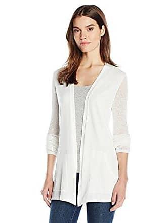Jones New York Womens Mesh Sleeve Sweater Cardi, White S