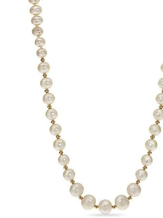 0946b9d84 Zales 6.0 - 9.0mm Oval Cultured Freshwater Pearl and 14K Gold Bead  Graduated Strand Necklace
