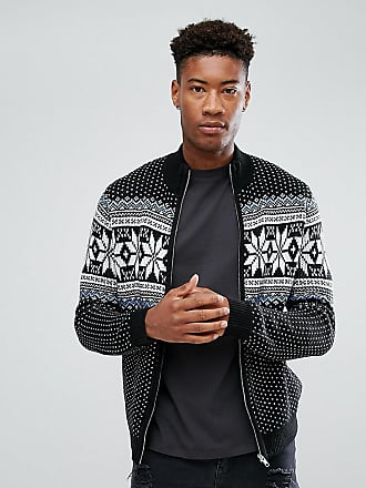 fa785aeca7 Asos ASOS TALL Heavyweight Fairisle Track Jacket In Black - Black