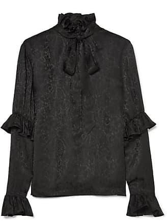 6596b926f7dae1 Saint Laurent Pussy-bow Ruffled Silk-satin Jacquard Blouse - Black