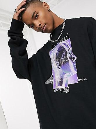Collusion Schwarzes Oversize-Sweatshirt mit Print