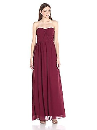 Minuet Womens Twist Ruched Bodice Long Gown, Burgundy, X-Large