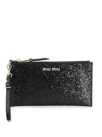 Miu Miu Clutch con glitter e logo - Di Colore Nero 27c4e0bb0e6