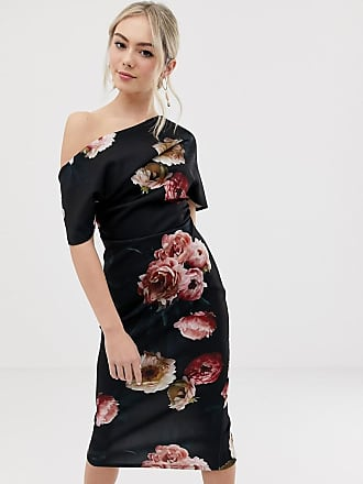 e53755131499 Asos pleated shoulder pencil dress in smokey floral - Multi