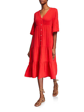 Xirena Kendall Button-Front Elbow-Sleeve Tiered Midi Dress