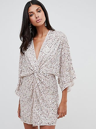 53f87d3059200 Asos Tall ASOS DESIGN Tall scatter sequin knot front kimono mini dress -  Pink