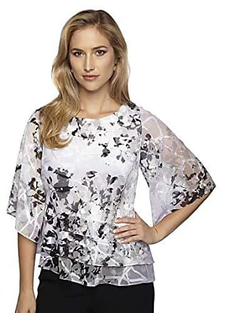 Alex Evenings Womens Asymmetric Tiered Chiffon Blouse Shirt (Missy and Petite), White/Black/Lilac, L