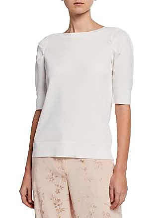 Iconic American Designer Shirred Puff Sleeve Sweater
