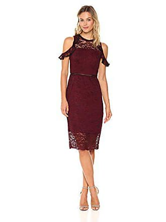 Bebe Womens Ruffle Cold Shoulder Lace Midi Dress with Peakaboo Hem, Burgundy, 4
