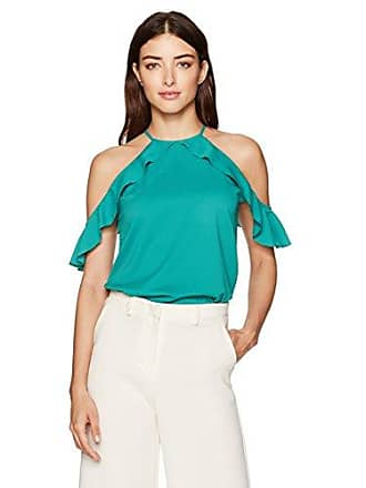 Cooper & Ella Womens Saga Ruffle Cold Shoulder, Pine Green, XS