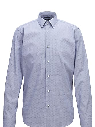 BOSS Regular-fit shirt in stretch dobby with pepita pattern