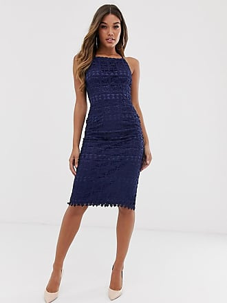 Club L Club L square neck lace dress with cut out back - Navy