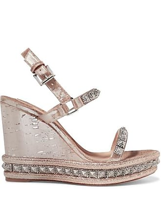 05774f087ae Christian Louboutin Pyradiams 110 Spiked Lamé Wedge Sandals - Silver