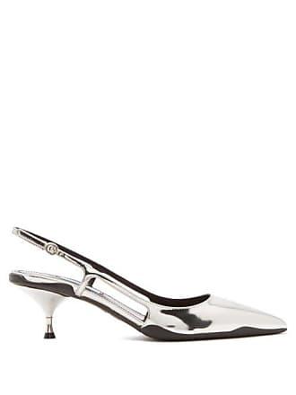 1bb84209b14 Prada Slingback Patent Leather Kitten Heels - Womens - Silver