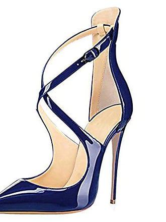 d86c8f7182e2 Onlymaker Damen Spitze Zehen Sandalen Lack High-Heels Stiletto Criss Cross  Hochzeit Party Dunkelblau EU42