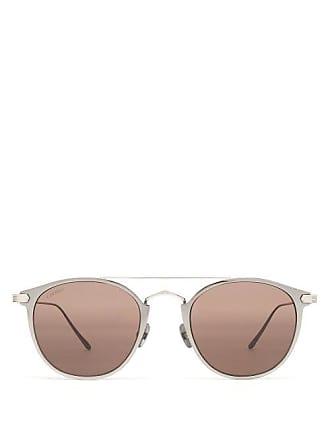 140fc6c8b778 Cartier Santos De Cartier Round Frame Metal Sunglasses - Mens - Black