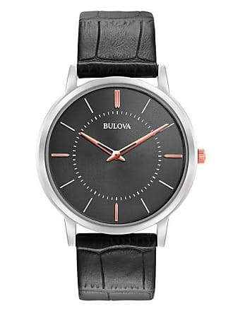 Zales Mens Bulova Classic Strap Watch with Grey Dial (Model: 98A167)